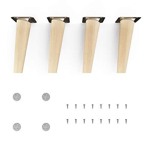 patas para muebles de madera - sossai® Clif | Naturaleza (sin tratar) | Altura: 15 cm | HMF2 | redondo, cónico (diseño inclinado) | material: madera maciza (haya) | para sillas, mesas, armarios, etc.