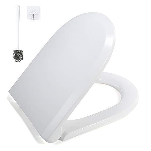 GAVAER Abattant Wc Avec Frein de Chute, Universelles Cuvette Toilette, Blanc, Antibactérien Siège fabriqué en Polypropylène (PP) et en acier inoxydable (Forme de D/U).