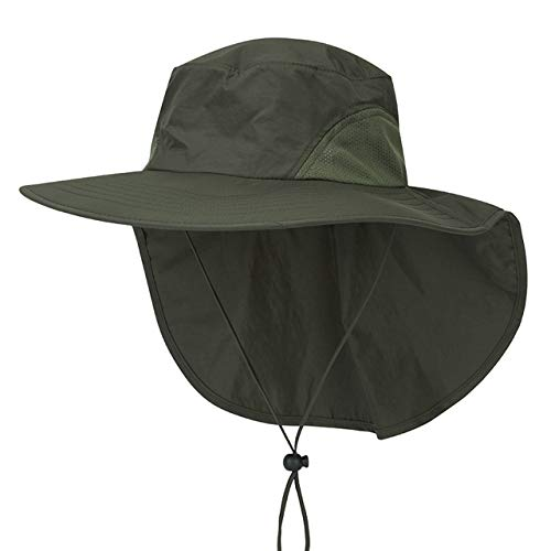 Faletony Outdoor Sonnenhut mit Nackenschutz, UV Schutz Faltbar Buschhut Boonie Hat Fischerhüte Bucket Safari Hut für Damen Herren (Armee-Grün)