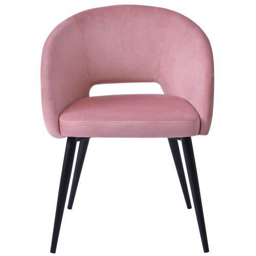Poltrona in velluto da giardino, sedie per sala da pranzo, design lussuoso e resistente, per camera da letto, comoda sedia per salotto con braccioli e schienale, colore: rosa/grigio