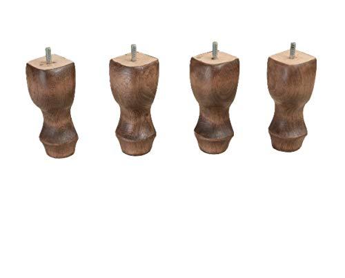 Patas de madera, de mueble, otomanas y patas de sofá, curvado en estilo antiguo, madera de haya, hecho a mano, macizo - 150x60x60 mm, colores Haya oscura vieja, 4 piezas/caja