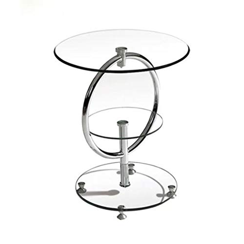 AMYAL Side Table Coffee Table End Tables Tempered Glass Round Couch Table, Simple Metal 3 Tier Coffee Corner Table, Household Reading Telephone Table, 50 * 57cm Sofa Snack Table