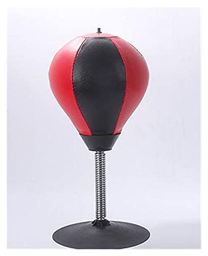 FVDS Boxball, Sandbulb, Sandpack de Mesa, Mini boxbox Hecho de Cuero de imitación roja con Primavera de Acero, Ventosa y Bomba de Aire, ventile Sus emociones, Ejercicio de Boxeo (Color : Black+Red)