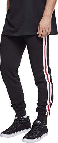 Urban Classics Herren 3-Tone Side Stripe Terry Pants Sporthose, Mehrfarbig (Blk/Wht/Firered 01368), 4XL