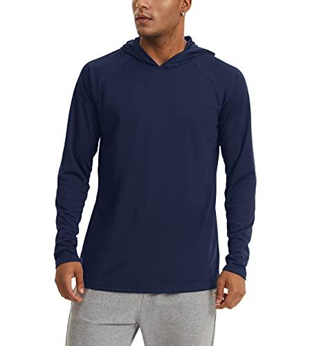 KEFITEVD Maglietta da uomo UV UPF 50+, protezione solare, maniche lunghe con cappuccio, foro per il pollice, asciugatura rapida, maglietta funzionale per la pesca, le escursioni Blu scuro M