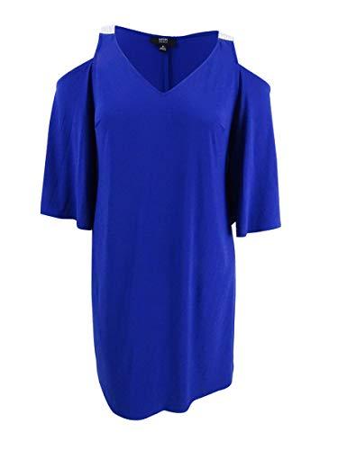 MSK Women Womens Plus Cold Shoulder Embellished Clubwear Dress Blue 2X