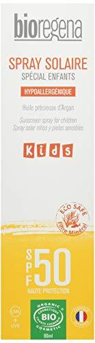 BIOREGENA - Crema solar BIO, factor de protección 50, pieles claras, sensibles, niños mayores de 3 años, spray 90 ml.