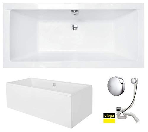 VBChome Badewanne 180 x 80 cm Acryl SET Schürze Siphon Acrylwanne Wanne Rechteck Weiß Design Modern Wannenfüßen Ablaufgarnitur Chrome Viega Simplex