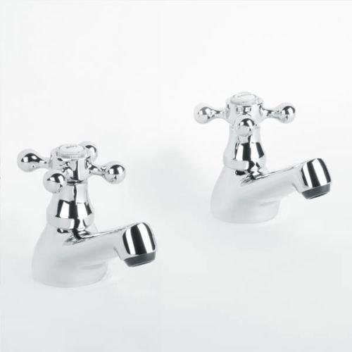 Paire de 2 pièces de colonne à basse pression chaude et froide, robinets de lavabo pour salle de bain traditionnelle