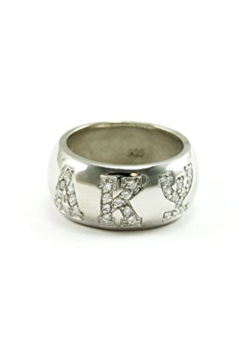 The Collegiate Standard Alpha Kappa Psi Sterling Silver Ring with Pave Cubic Zirconia Greek Letters Size 8