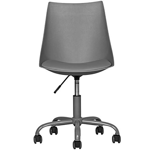 Home Office Desk Chair Computer Chair Fashion Ergonomic Task Working Chair with Wheels Height Adjustable Swivel PU Leather Grey