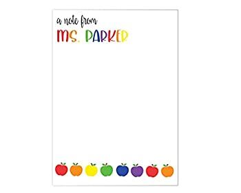 PRINTED PERSONALIZED NOTEPAD Gifts for Teachers - Personalized Teacher Notepad - Teacher Stationery - Christmas Teacher Gift - Style  Rainbow Apples Teacher Apperication Gift