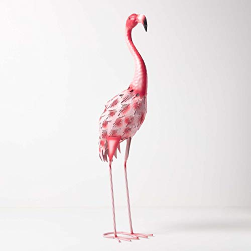 Homescapes Garten Deko Flamingo Metall Figur, handbemalt Metallvögel Dekofigur aus Eisen, Gartenfigur für Garten Teich und Balkon, Teichdeko Tierfigur, rosa ca. 67 cm hoch