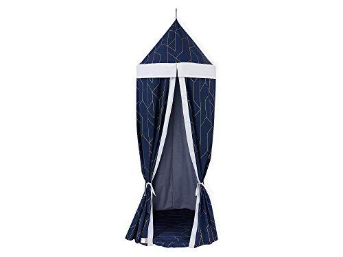 KraftKids Hänge-Zelt in goldene Linien auf Dunkelblau, Baldachin aus Baumwolle für das Kinderzimmer, 65 x 210 cm, inkl. Schlafmatte