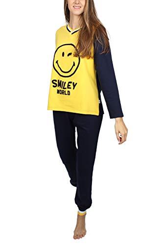 Smiley Damen Pyjama Langarm Phototypes, 54712-0, Gelb, 54712-0 L