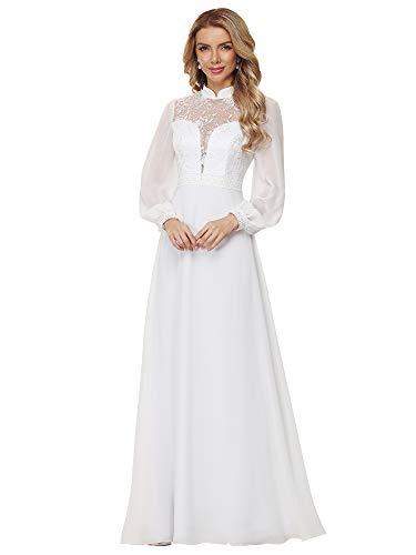 Ever-Pretty Womens Puff Sleeve Maxi Chiffon Simple Bridal Dresses White US6