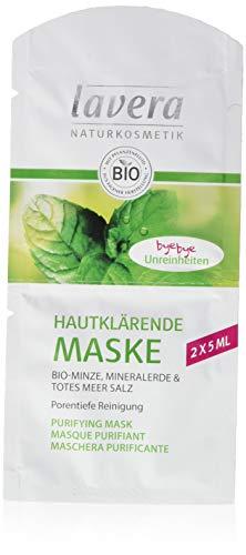 lavera Hautklärende Maske Bio-Minze, Mineralerde & Totes Meer Salz ∙ vegan Bio Pflanzenwirkstoffe Naturkosmetik Natural & innovative 15er Pack (15 x 10 ml)