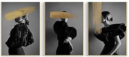 Magnífica Imagen 3 Piezas 60x80cm Sin Marco Negro Blanco Moda Mujeres Póster Graffiti Dorado Carteles e Impresiones nórdicos Sala de Estar Imágenes de Pared Decoración