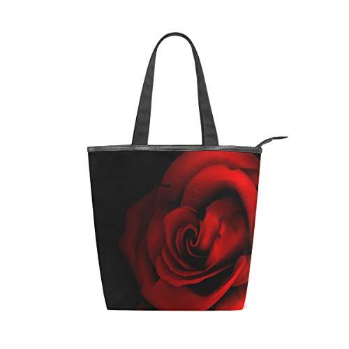 Jeansame Canvas-Handtasche für Damen, Shopper mit Tragegriff, Schultertasche mit Reißverschluss, Schwarz/Rot/Rosen/Blumen