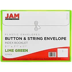 JAM Paper プラスチック製封筒 ボタンとひもで開閉 インデックスサイズ 5 1/2×7 1/2インチ グリーン