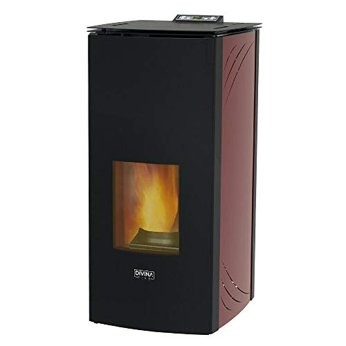 Divina Fire Stufa a pellet 24 kw termostufa idro ventilata 510mc CLARINDA240 (BORDEAUX)