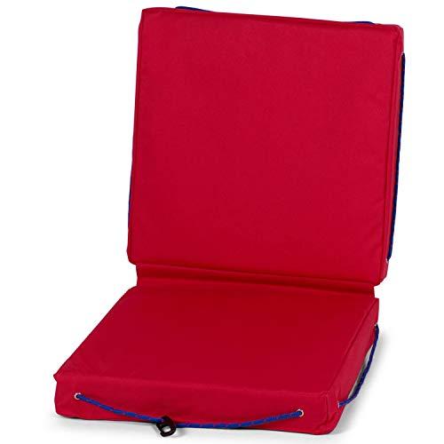 wellenshop Sitzkissen für Boote Schwimmfähig Wasserdicht Kissen Boot Caravan Camping Garten Stuhl Outdoor Farbe Rot, Größe Doppelkissen