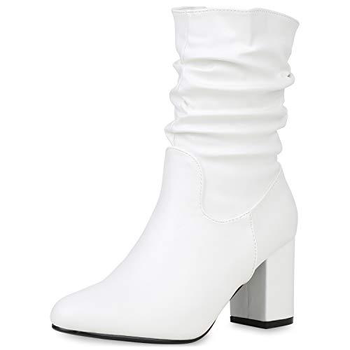 SCARPE VITA Damen Klassische Stiefeletten Gefütterte High Heels Slouch Boots Blockabsatz Schuhe Leder-Optik Stiefel 187342 Weiss 36