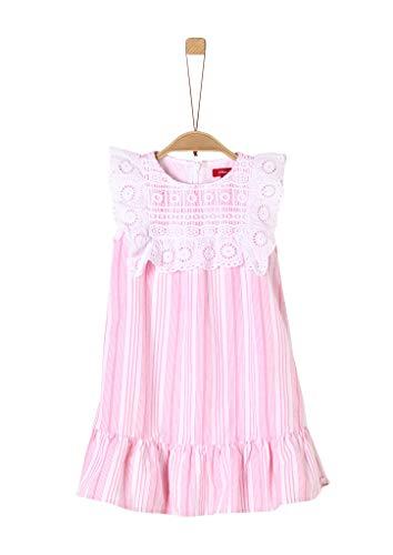 s.Oliver Mädchen Sommerkleid mit Spitzenpasse pink Stripes 110.REG