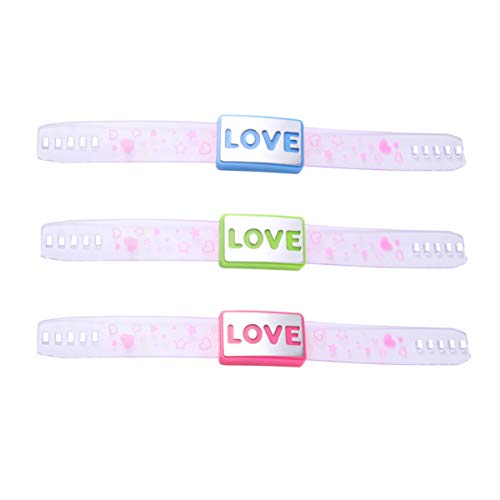 Holibanna 3 Piezas de Pulseras Brillantes con Corazón de Amor Pulseras de Brillo LED Brazaletes de Flash de Plástico Que Brillan en La Oscuridad Suministros para Fiestas de Cumpleaños