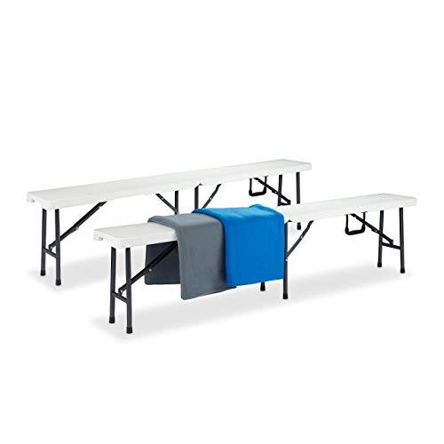 Relaxdays Set de 2 Bancos Plegables, Jardín, Exterior, Vestuario, Portátil, Maleta, Plástico, 42 x 180 x 25 cm, Blanco