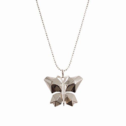Ikita abstrakt Silberfarben Anhänger Schmetterling Insektenhotel-Kette Fashion-Halskette in Geschenkbox