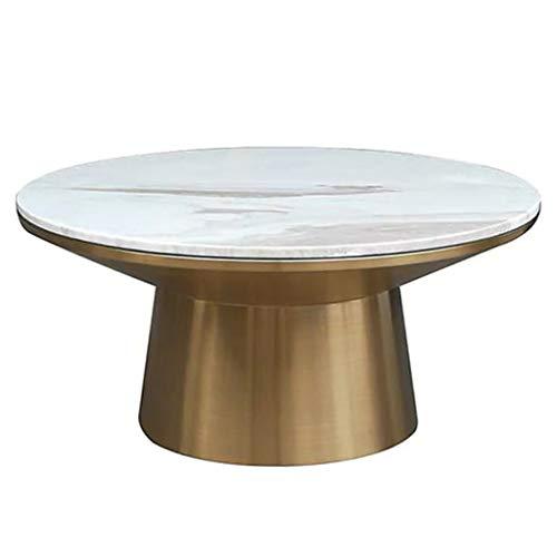Table d'appoint Ronde Moderne Simple Marbre One-Piece End Table Iron Art Petit Appartement Tea Tea 80cm Décoration Bureau Table Basse, d'or
