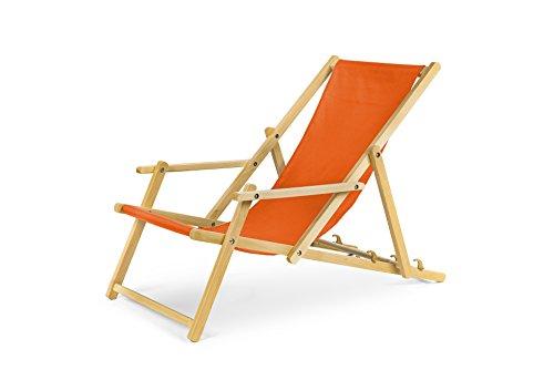 Chaise longue de jardin en bois, Transat, Chaise longue relax de plage, chaise longue avec accoudoirs. Orange