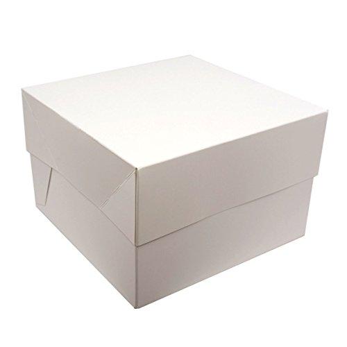 Blanco cuadrado de la torta cajas - paquetes OF 5 - perfecto para transportar tus creaciones!, Blanco, 10' (25,4 cm)