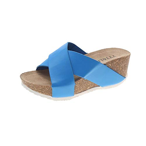 Sandalen Damen Dicker Boden Keilabsatz Hausschuhe Beiläufiger Mode Badeschuhe Kuschelige Einfach Einfarbige Strandschuhe Sommer Peep Toe Fischmund Outdoorsandalen