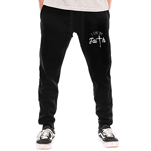 SUNSANKUKE I Live by Faith Christian Based Quote Spiritual Men's Sweatpants with Pockets Men's Autumn Winter Long Trousers Black