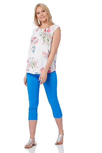 Roman Originals Damen Bengalin-Knöchelhose aus Stretch-Material - Damen mittellange Capri-Pull-on-Hosen - Sommer, Urlaub, tagsüber, Knöchelhose- 40 Farben,Bright Blue,46 (18)