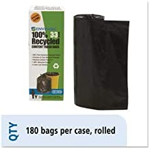 Stout by Envision Recycled Plastic Trash Bags, 33 Gal, 1.3 Mil, 33 X 40, Brown/Black, 180/Carton
