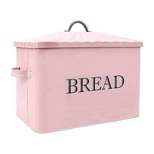 Jolitac Metal Bread Box - Kitchen Countertop Pink Bread Storage Bin with Lid and hands, Large Capacity Farmhouse Bread keeper Food Storage Container