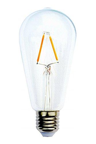 Edison Vintage Design lampadina ST64 E27. Luce d'atmosfera 2W LED [Classe energetica A ++]