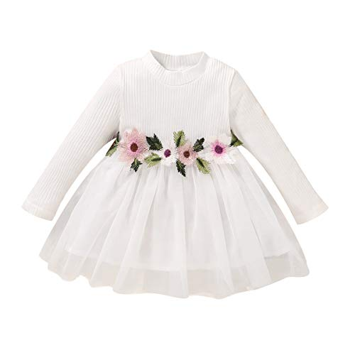 Kucnuzki 9-12 Months Girl Clothes Toddler Girl Fall Outfits White Flower Princess Dress Long Sleeve Infant Tutu Skirts Overall