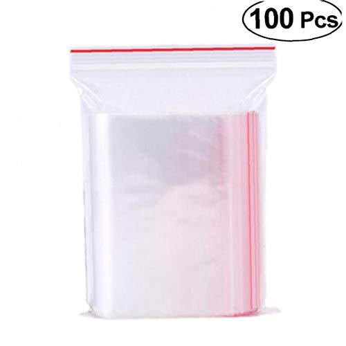 100pcs tenuta Borse Libero trasparente richiudibile Zipper Poly Borse distributore di sacchetti di stoccaggio per alimentare piccoli Snack Articolo