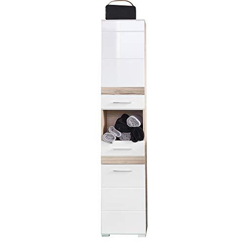 trendteam smart living Badezimmer Hochschrank Schrank Set One in Eiche San Remo hell (Nb.) mit Fronten in weiß hochglanz, Tiefziehung und Absetzungen in Eiche San Remo hell (Nb.) 37 x 182 x 31 cm