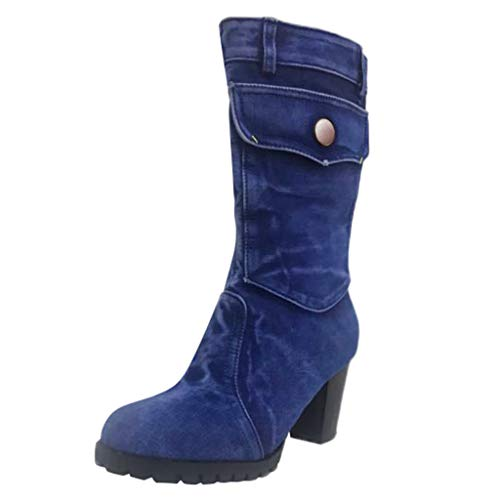 VECDY Damen Stiefeletten Mode Boots Martin Stiefel Mid-Rise Rom Solid Größe Slip-On Chunky Med...