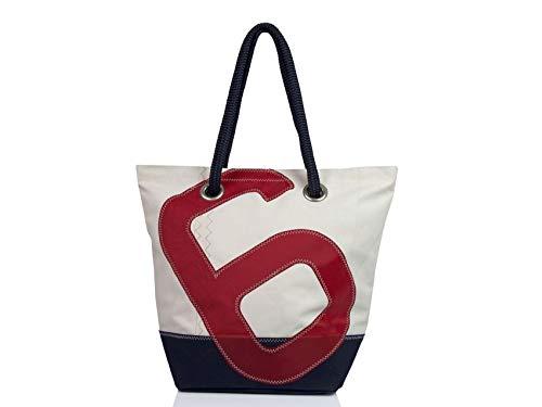 727Sailbags SAM, Strandtasche Shopper Shopping Bag Handtasche Damen aus recyceltem Dacron-Segel, Acrylboden Marineblau, Zahl 6 Blau,48 cm
