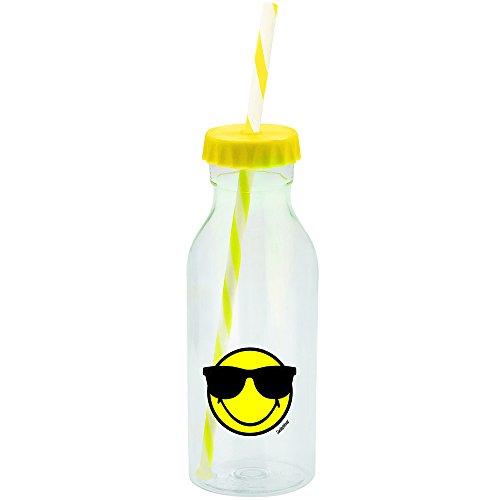 Zak Designs Smiley Emoticon Gafas de Sol Botella con Pajita 55cl de Amarillo