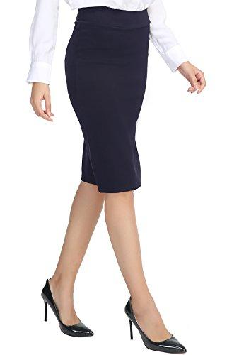 Urban GoCo Mujeres Falda Midi Lápiz Cintura Alta Elasticidad Bodycon Tubo Falda Oficina Azul Marino XL