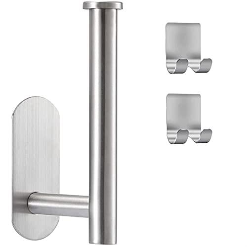 Tenedor de papel higiénico de 2 PCS para el soporte del rollo de inodoro autoadhesivo para el baño de la cocina del baño en la pared (Color : Silver)