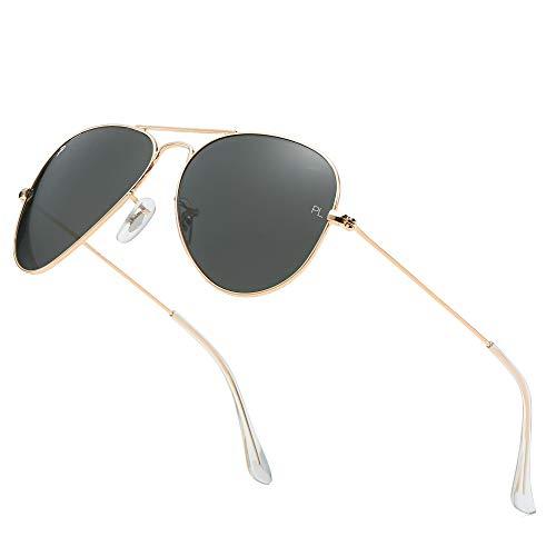 ADE WU Gafas de sol de Vidrio Polarizado Gafas de sol de Aviador Protección UV400 Gafas de Ciclismo para Mujeres Hombres - AW3025