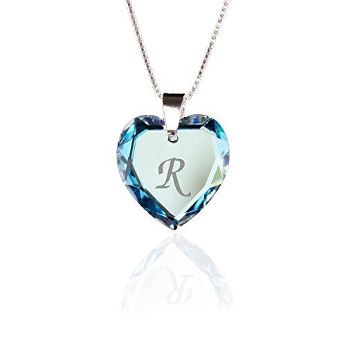 Kristallwerk Kinderkette 925 Silber mit Swarovski Elements Herzanhänger Farbe Blue AB und Gravur Buchstabe R als Geschenk oder zum Geburtstag